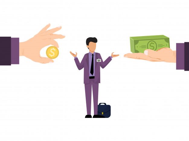 Business of different salary offer for employees. business manager with differing salaries offers. Premium Vector