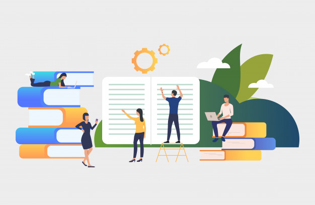 Group of people working on books Free Vector