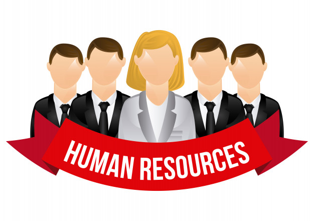 Human resources characters with banner over white Free Vector