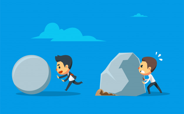 One businessman pushes the round stone boulder while the other one pushing the giant boulder. differentiation between work hard and work smart Premium Vector
