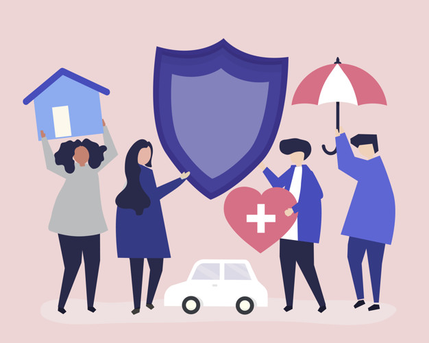 People carrying icons related to insurance Free Vector
