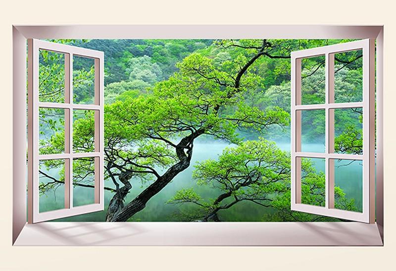 Tranh 3D giả cửa sổ với cảnh rừng