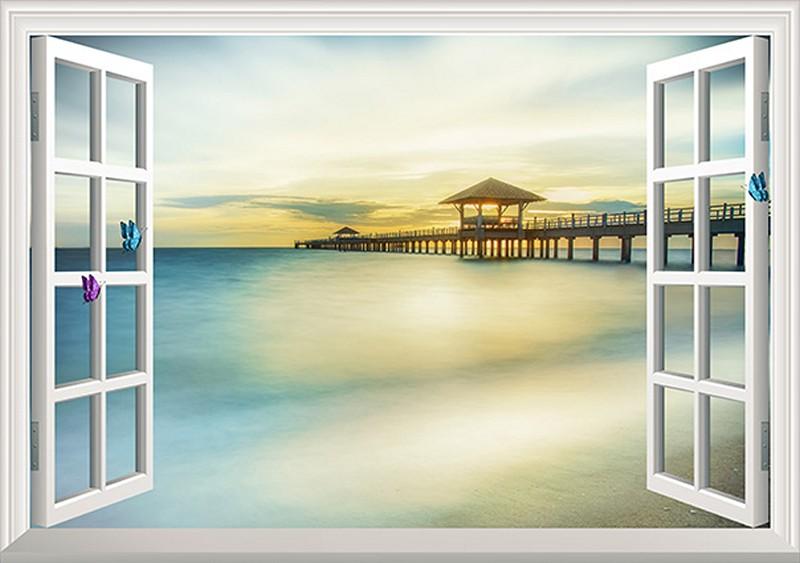 Tranh 3D giả cửa sổ với cảnh biển hoàng hôn