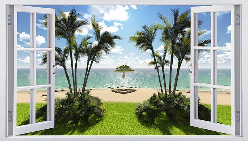 Tranh 3D giả cửa sổ với cảnh biển hoang sơ