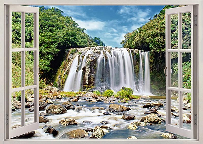 Tranh 3D giả cửa sổ với cảnh thiên nhiên