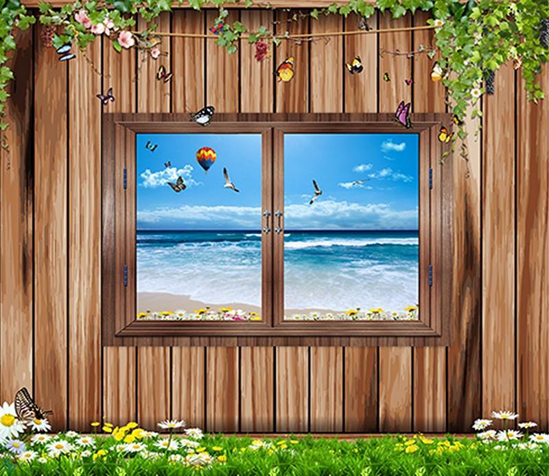 Tranh 3D giả cửa sổ với cảnh biển