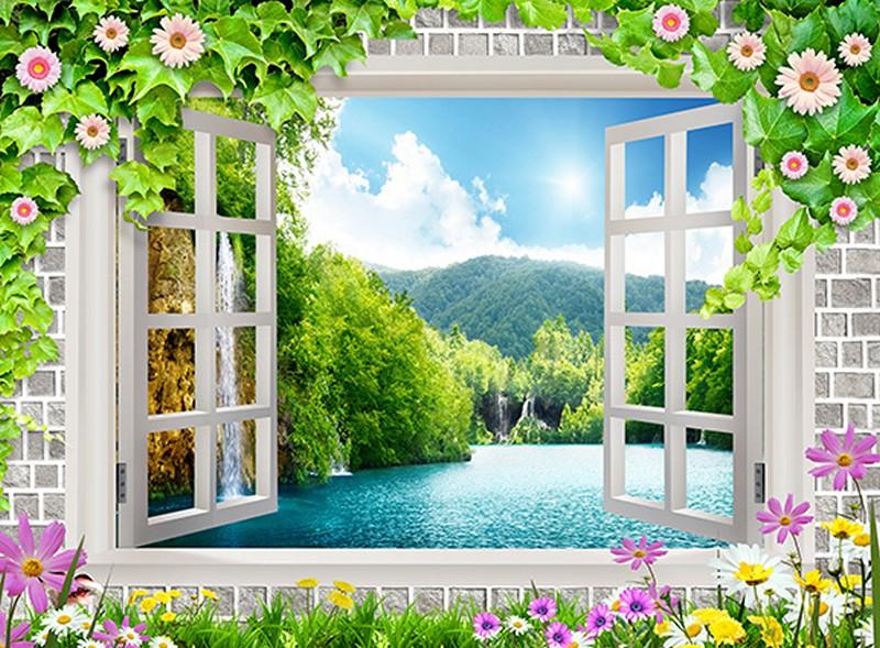 Tranh 3D giả cửa sổ với cây hoa anh đào