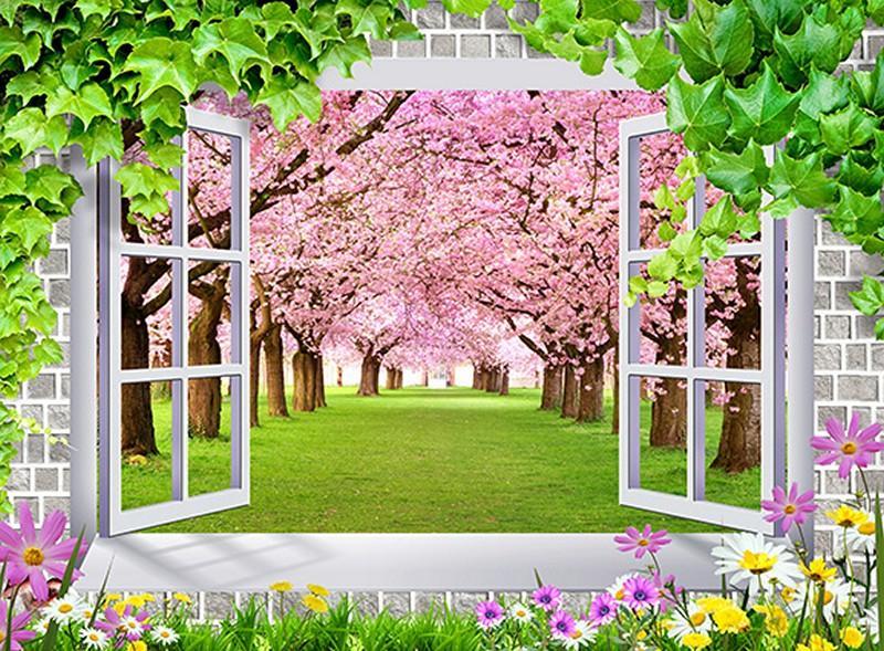 Tranh 3D giả cửa sổ đẹp khung cảnh tự nhiên